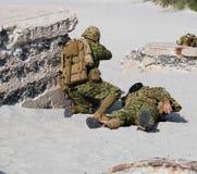 Modo de la defensa del soldado Foto de archivo libre de regalías