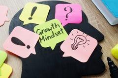 Modo de pensar del crecimiento escrito en un palillo de la nota foto de archivo