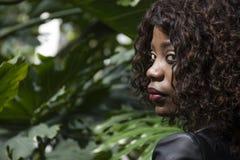 Modo del primo piano, bella ragazza di modello nera Fotografia Stock Libera da Diritti