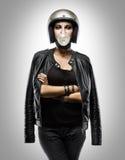Modo della ragazza del motociclista Immagini Stock
