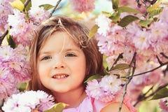 Modo della ragazza di estate Infanzia felice Bambina in molla soleggiata Piccolo bambino Bellezza naturale Il giorno dei bambini immagini stock