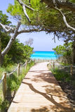 Modo della spiaggia alla spiaggia Formentera di paradiso di Illetas Fotografia Stock