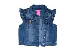 Modo delle maglie dei jeans Le blue jeans senza maniche conferiscono a o rivestimento per la bambina isolata su un fondo bianco P fotografia stock