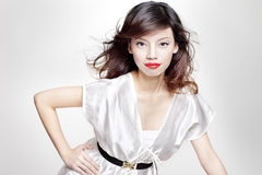 Modo di bellezza sparato del modello femminile asiatico fotografie stock libere da diritti