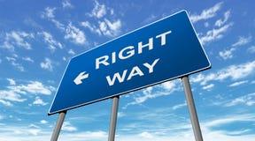 Modo di destra del segnale stradale Fotografia Stock Libera da Diritti