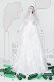 Modo di Eco/vestiti della stagnola Fotografie Stock
