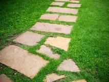 Modo di pietra della passeggiata del blocco in giardino Fotografia Stock Libera da Diritti