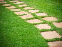 Modo di pietra della passeggiata del blocco in giardino Immagini Stock Libere da Diritti
