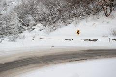 Modo di strada sulla collina con i rami e la caduta congelati della neve Fotografia Stock
