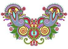 Modo floreale decorato del ricamo di Paisley della scollatura Fotografie Stock
