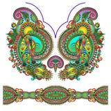 Modo floreale decorato del ricamo di Paisley della scollatura Fotografia Stock Libera da Diritti