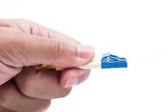 Modo LC de los cables de fribra óptica del enchufe del control de la mano solo foto de archivo
