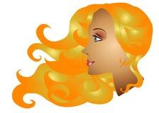 Modo lungo dei capelli della donna bionda Fotografia Stock