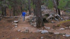 modo lycian storico di camminata di trekking dell'uomo turistico, strada di lycia, tacchino video d archivio