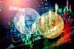 Modo moderno dello scambio Bitcoin ? pagamento conveniente nel mercato dell'economia globale Valuta digitale virtuale ed investim immagine stock libera da diritti