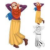 Modo musulmano della ragazza che porta velo o sciarpa verde con il rivestimento giallo e gli stivali illustrazione vettoriale