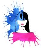 Modo, ragazza, macchie dell'acquerello Fotografia Stock Libera da Diritti