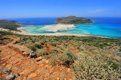 Modo roccioso giù al paradiso della baia di Balos Immagini Stock