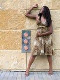 Modo - stampa del leopardo della donna fotografia stock libera da diritti