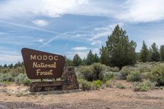 Free Modoc County, California - July 9, 2019: Sign For The Modoc National Forest, Located In Extreme Northern California Royalty Free Stock Photos - 154539028