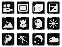 Modos de ícones da silhueta da foto Imagem de Stock