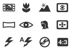 Modos de ícones da silhueta da foto Fotografia de Stock Royalty Free