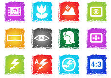 Modos de ícones da silhueta da foto Fotos de Stock