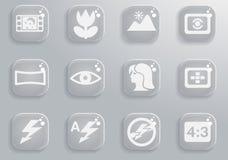 Modos de ícones da silhueta da foto Fotos de Stock Royalty Free