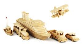 Modos de transporte diferentes Grupo de formulários de madeira do transporte Fotos de Stock Royalty Free