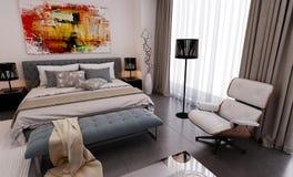 Modren-Schlafzimmersichtbarmachung Lizenzfreies Stockfoto