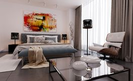 Modren-Schlafzimmersichtbarmachung 3d Lizenzfreies Stockfoto