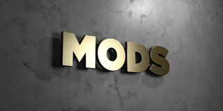 Mods - Gold sign mounted on glossy marble wall  - 3D rendered royalty free stock illustration. This image can be used for an online website banner ad or a Stock Image
