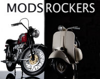 Mods rockers bike and vespa Stock Photo