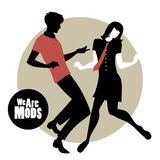 We are Mods. Silhouettes of couple wearing retro clothes in the 1960s Mod style dancing.  Vector Illustration