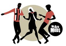 We are Mods. Silhouettes of two guys and girl wearing retro clothes in the 1960s Mod style dancin Stock Images