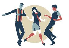 We are Mods. Young guys and girl wearing retro clothes in the 1960s Mod style dancing Stock Photo
