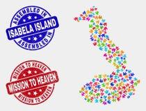 Modul Isabela Island von Galapagos-Karte und Schmutz zusammengebaut und Auftrag zu den Himmels-Stempeln lizenzfreie abbildung