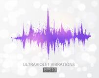 Modulación de amplitud púrpura ultravioleta Analizador de espectro, equalizador de la música, onda acústica Color del año 2018 ilustración del vector