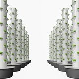 Modular Aeroponics Tower with growing pots. Hydroponics & Aeroponics sistem uses modular stackable growing pots. Vertical hydroponics garden growing vegetables Stock Image