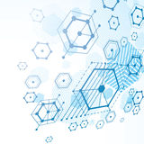 Modular Bauhaus 3d vector blue background, created from simple g Stock Photo