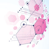Modular Bauhaus 3d vector magenta background, created from simpl Royalty Free Stock Photography