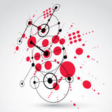 Modular Bauhaus 3d vector red background, created from simple ge. Ometric figures like circles and lines. Best for use as advertising poster or banner design Stock Images