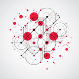 Modular Bauhaus red vector background, created from simple geome Stock Image