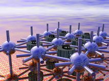 Modular City. Futuristic modular city with spheres and walkways in a strange landscape Stock Photography