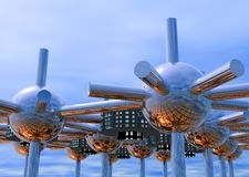 Modular City Closeup. Closeup of modular City concept with interconnecting tubes and spheres Royalty Free Stock Photo