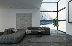 Modular dark blue sofa in living room with windows. Luxury dark blue modular sofa in living room with windows and carpet. Large houseplant at outside corner. 3d Royalty Free Stock Images