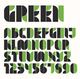 Modular eco green and black alphabet and number Stock Images