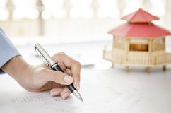 Modular home and drawing Royalty Free Stock Photo