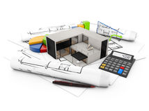 Modular house accounting. Architecture finances concept: concrete house over plots with graphics and a calculator isolated on white background Stock Photos