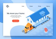 Modular House Delivery Isometric Vector Web Banner royalty free illustration